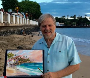 Jim Kingwell local Maui artist painting in Lahaina